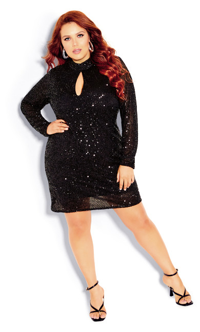 Plus Size Glowing Dress - black