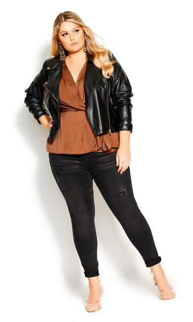 Plus Size Opulent Top - toffee