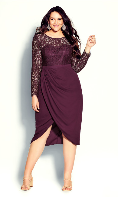 Plus Size Elegant Lace Dress - bordeaux