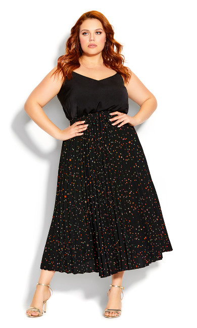 Plus Size Prism Spot Skirt - black