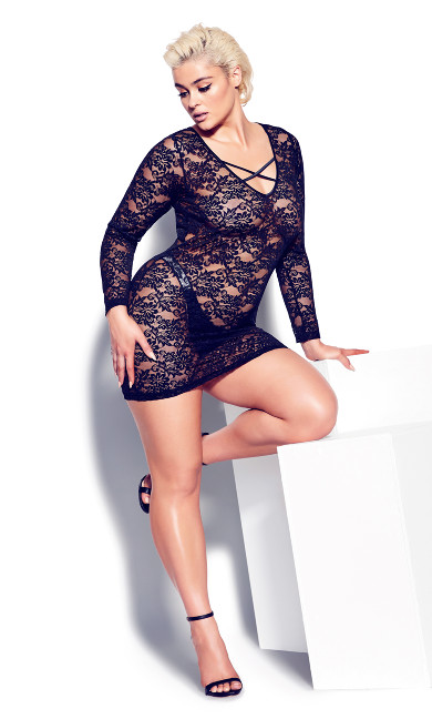 Sheer Lace Chemise - black