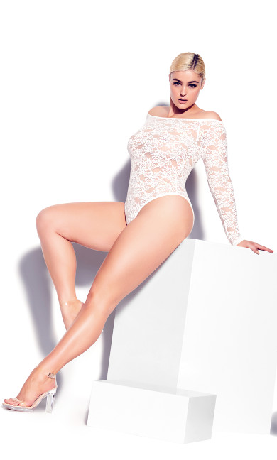 Sheer Lace Bodysuit - ivory