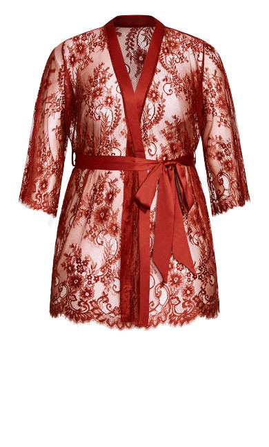 Eva Lace Robe - pomegranate