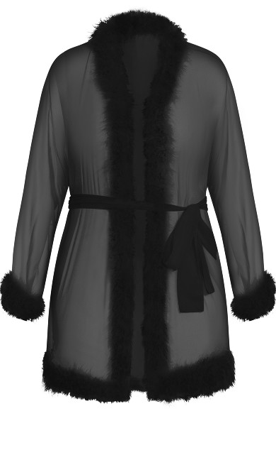 Marabou Trim Short Robe - black