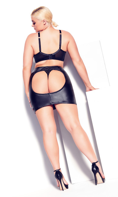 Pleather Spanking Skirt - black