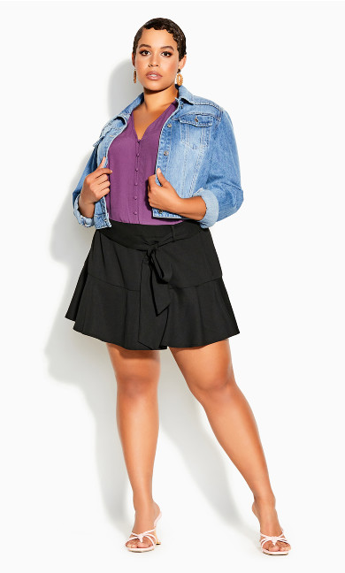 Plus Size Cute Frill Skirt - black