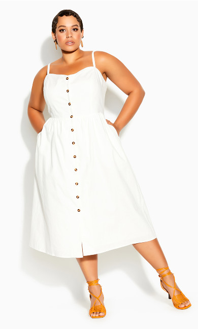 Plus Size Button Baby Dress - ivory