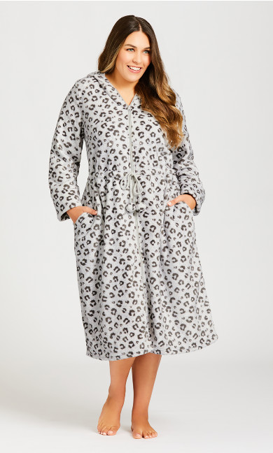 Plus Size Zip Animal Robe - gray