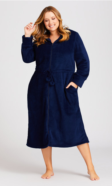 Plus Size Zip Robe - navy