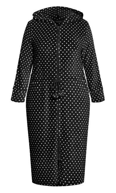 Zip Spot Robe - black