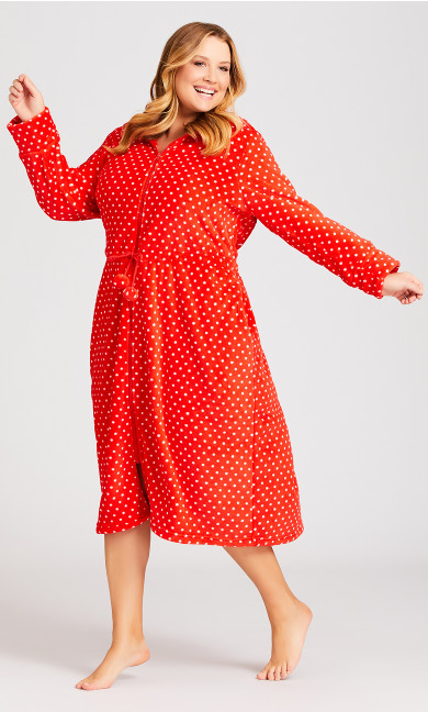 Plus Size Zip Spot Robe - red