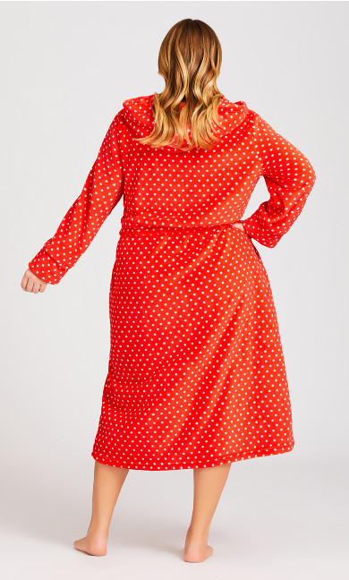 Zip Spot Robe - red