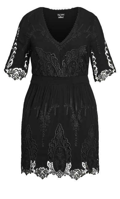 Lust Crochet Dress - black