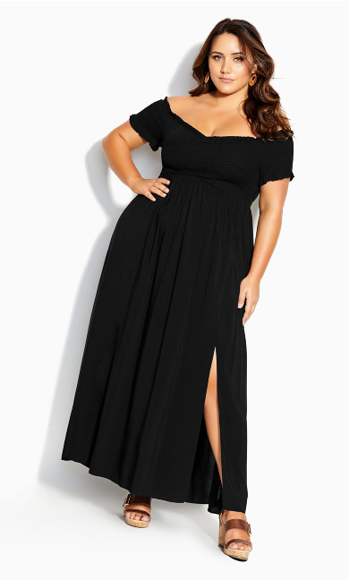 Dress V Shirred Maxi - black