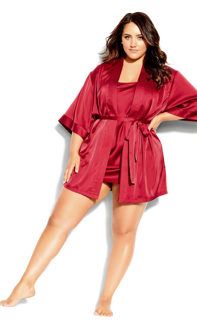 Satin Chemise & Robe Set - shiraz