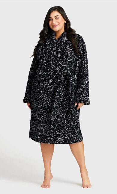 Plus Size Heart Fleece Robe - black
