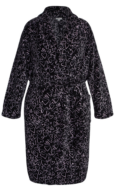 Heart Fleece Robe - black