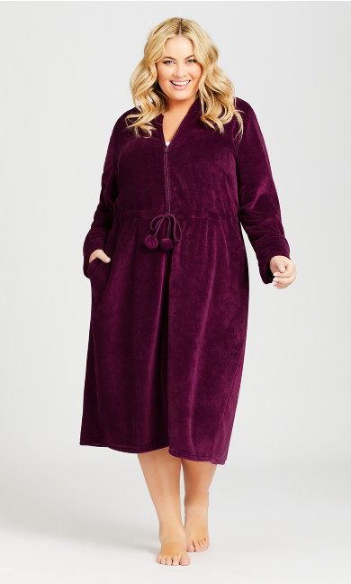 Plus Size Zip Front Robe - plum