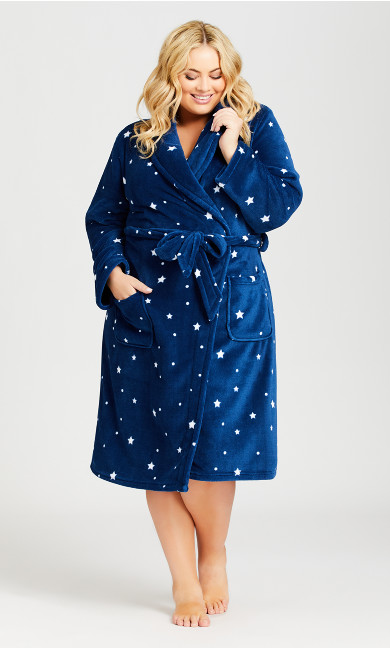Plus Size Wrap Front Robe - navy