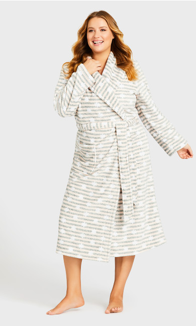 Plus Size Snowflake Robe - gray