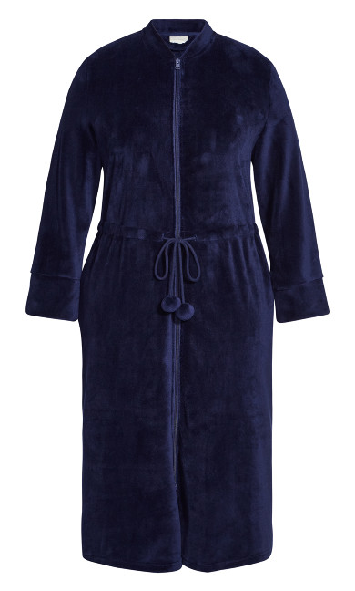 Zip Fleece Robe - navy