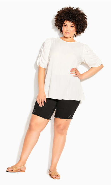 Rouched Escape Top - ivory