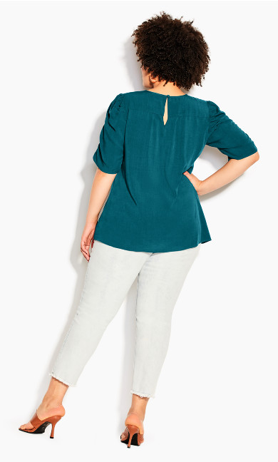 Ruched Escape Top - teal
