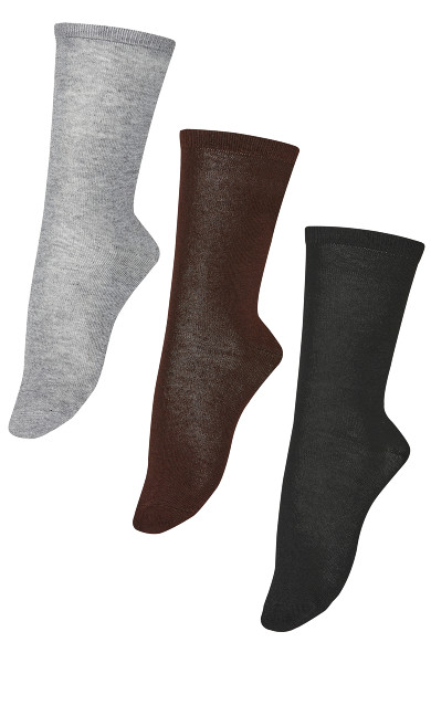 Flat Knit Crew Socks 3 Pack - chocolate