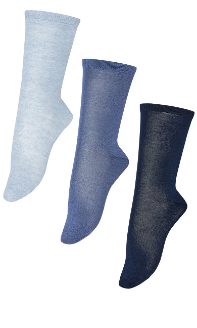 Plus Size Flat Knit Crew Socks 3 Pack - blue