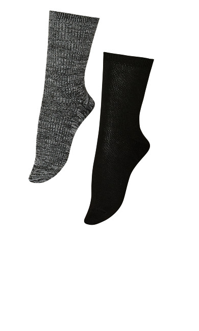 Ribbed Socks 2 Pack - black