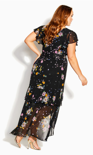 Summer Rose Maxi Dress - black