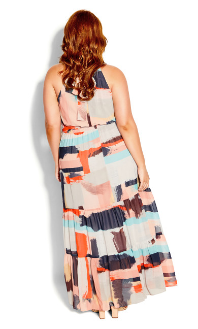 Paint Play Maxi Dress - beige