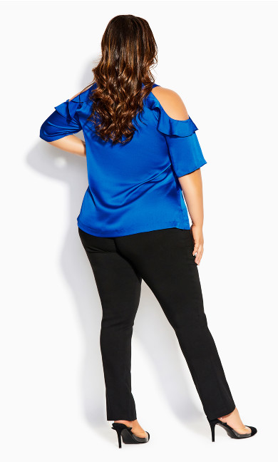 Frill Cold Shoulder Top - bright blue