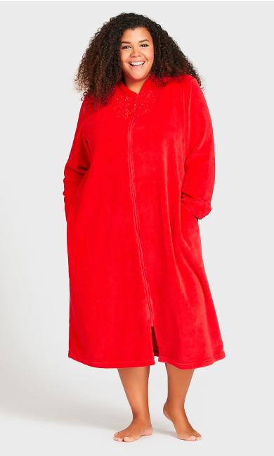 Plus Size Embroidered Zip Robe - red