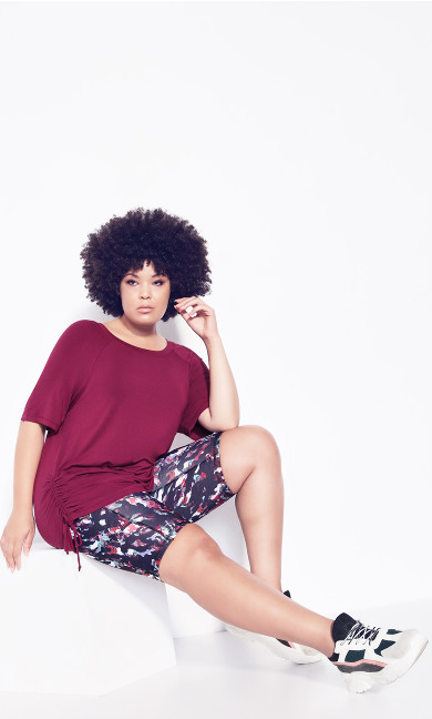 Plus Size Ruched Side Top - plum