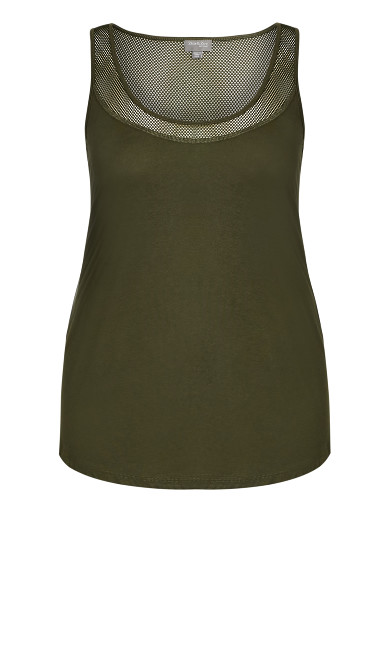 Mesh Sleeveless Top - olive