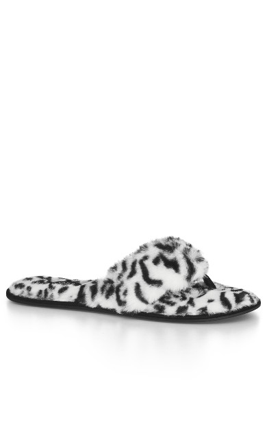 EXTRA WIDE FIT Cheetah Slipper - white