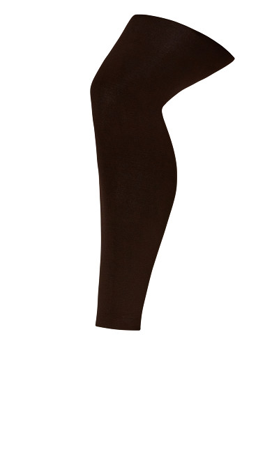 Fleece Lined Footless Tights - brown