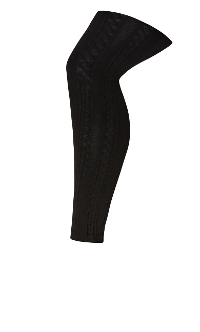 Cable Knit Legging - black