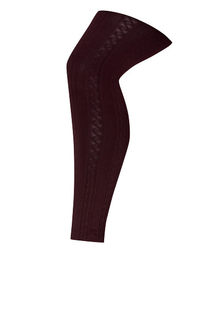 Cable Fleece Lined Legging in Wine