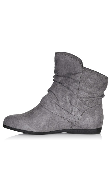 Serena Faux Suede Side Buckle Bootie - gray