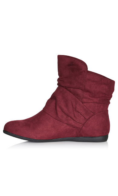 Serena Faux Suede Side Buckle Bootie - wine