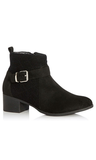 Plus Size Darla Quilted Faux Suede Ankle Boot - black