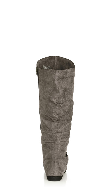 Sasha Faux Suede Ruched Tall Boot - gray