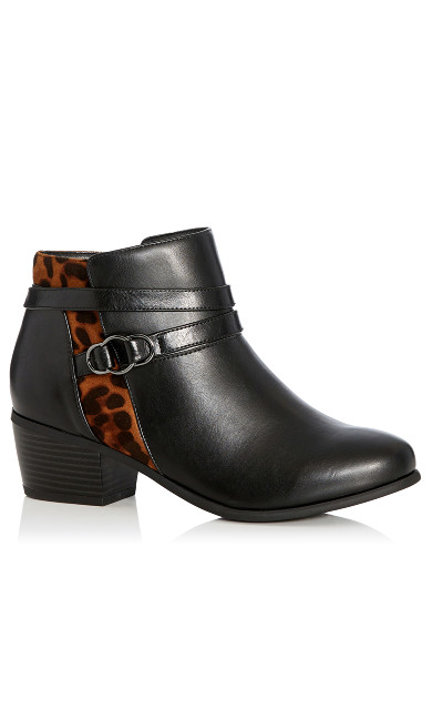 Frenchie Leopard Ankle Boot - black