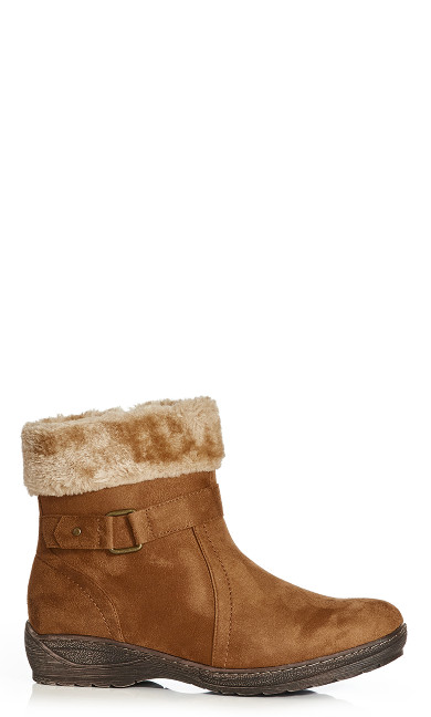 Plus Size Patsy Fur Trim Buckle Boot - cognac