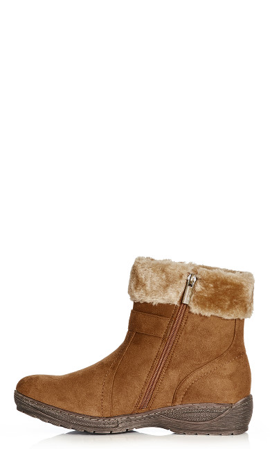 Patsy Faux Fur Trim Buckle Boot - cognac