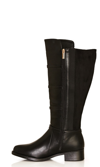 Thea Strappy Lace Up Riding Boot - black