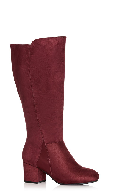 Christa Faux Suede Tall Boot - wine