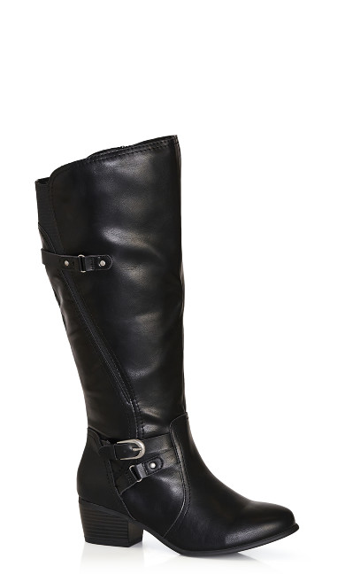 Plus Size Harriet Double Buckle Tall Boot - black